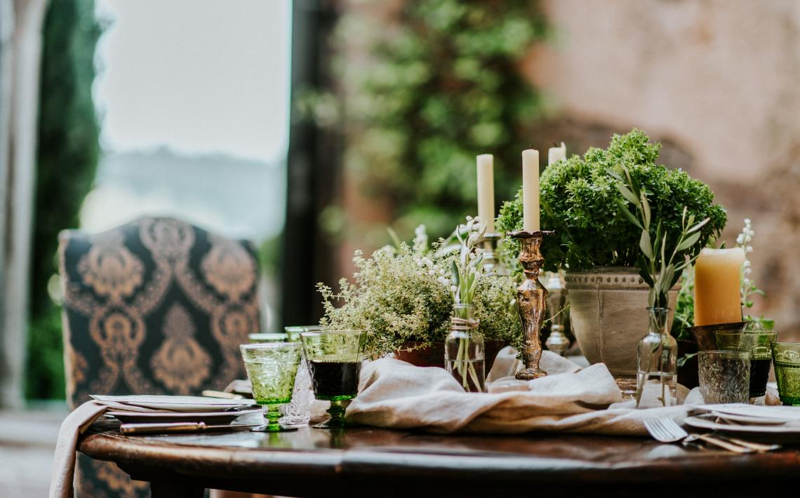 "The ""Provenzale"" collection for the ""Tuscan Olive Wedding Inspiration"" wedding table"